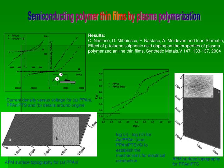 Semiconducting polymer thin films by plasma polymerization