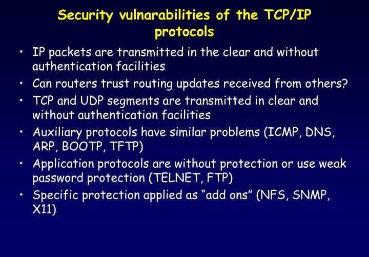 Security vulnarabilities of the TCP/IP protocols