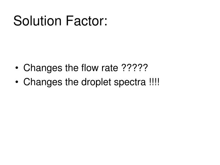 Solution Factor: