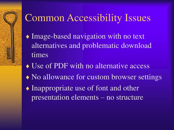 Common Accessibility Issues