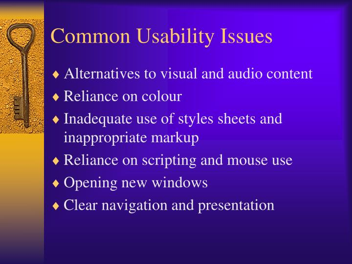 Common Usability Issues