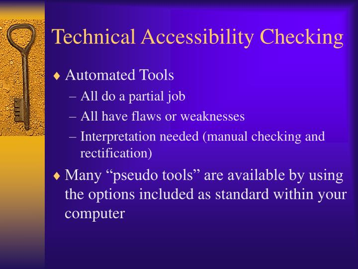 Technical Accessibility Checking