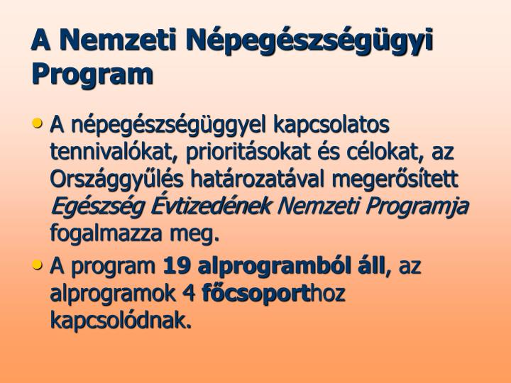 A Nemzeti Népegészségügyi Program