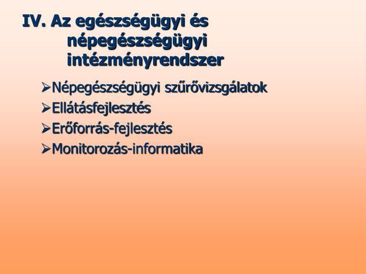 IV. Az egészségügyi és népegészségügyi intézményrendszer