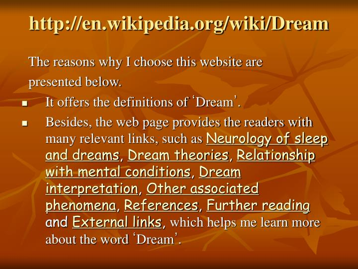 http://en.wikipedia.org/wiki/Dream
