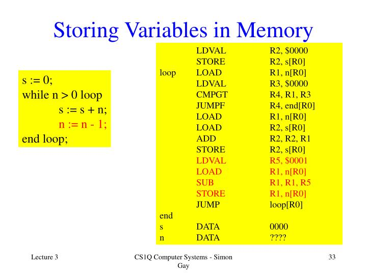 Storing Variables in Memory