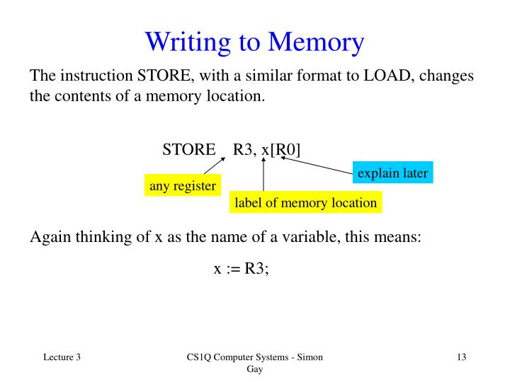 Writing to Memory