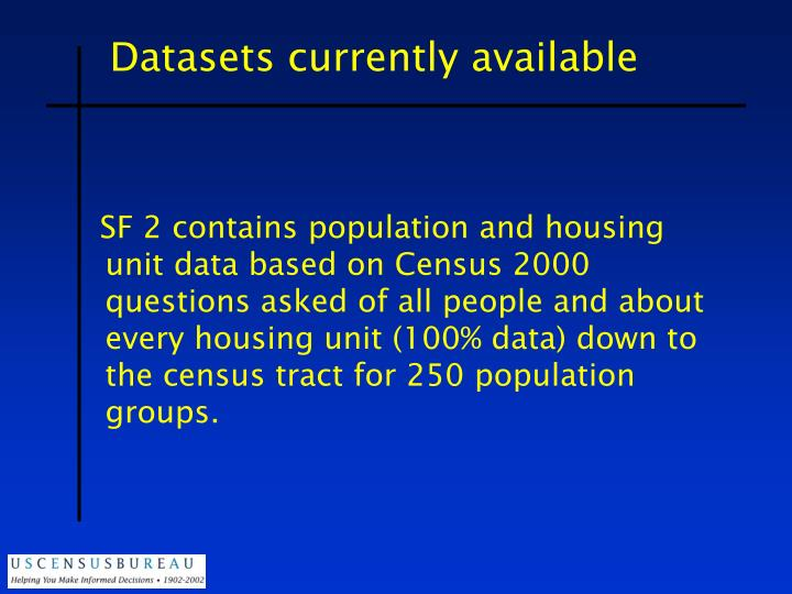 Datasets currently available