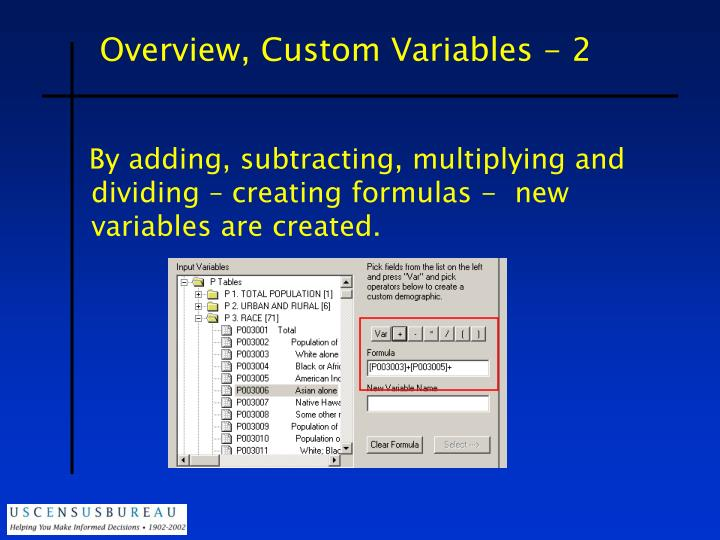 Overview, Custom Variables - 2
