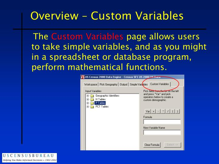 Overview – Custom Variables