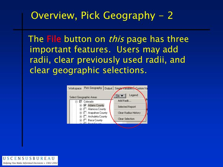 Overview, Pick Geography - 2