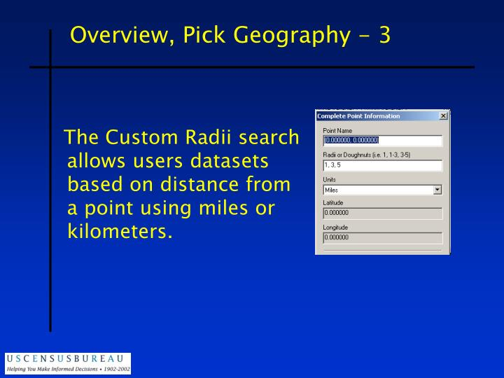 Overview, Pick Geography - 3