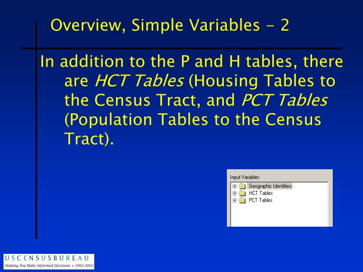 Overview, Simple Variables - 2