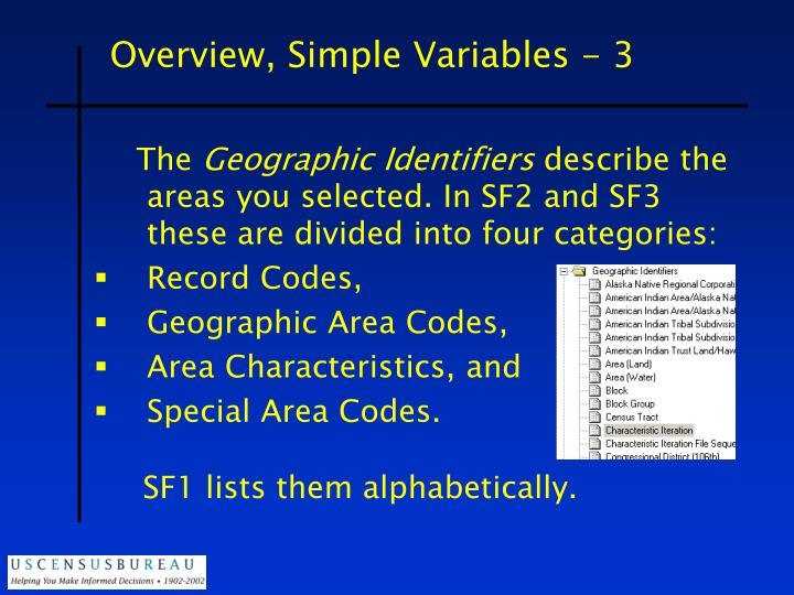 Overview, Simple Variables - 3