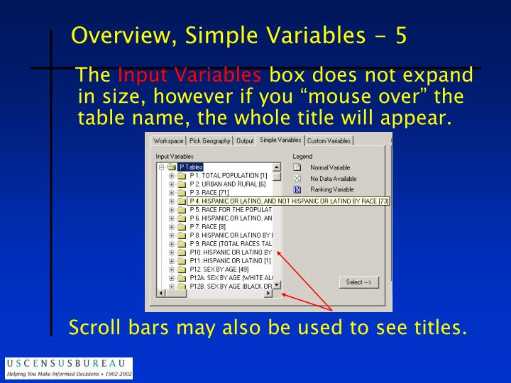 Overview, Simple Variables - 5