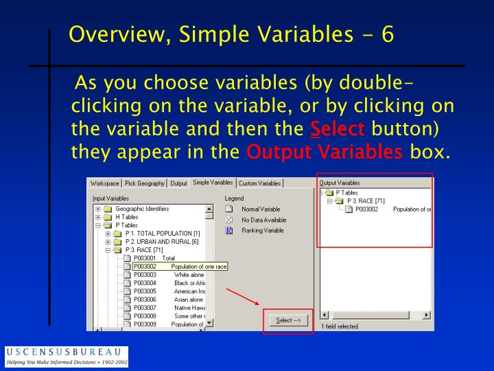 Overview, Simple Variables - 6