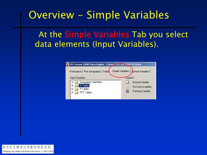 Overview - Simple Variables