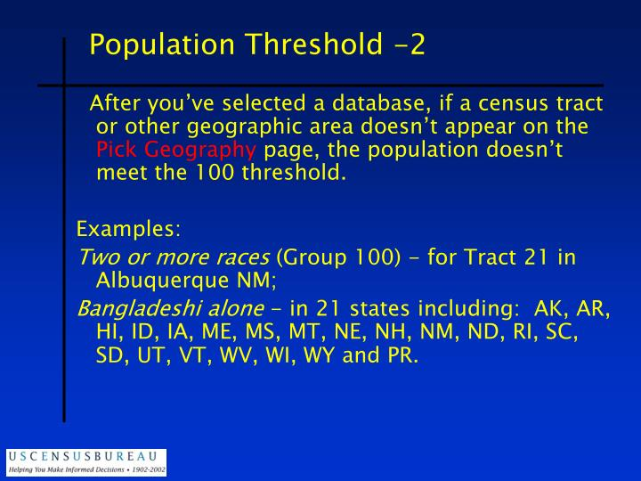 Population Threshold -2