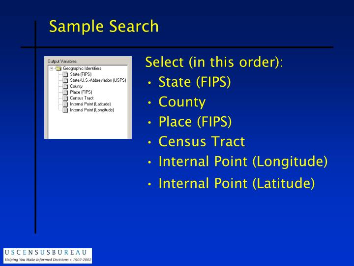 Sample Search