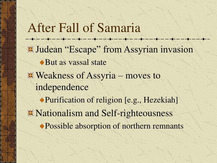 After Fall of Samaria
