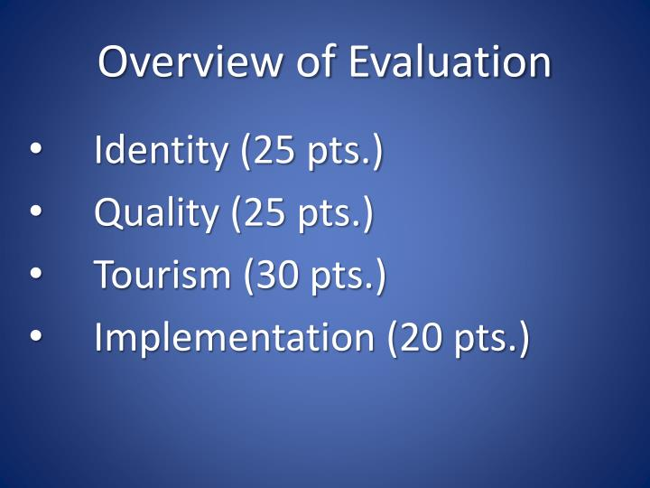 Overview of evaluation
