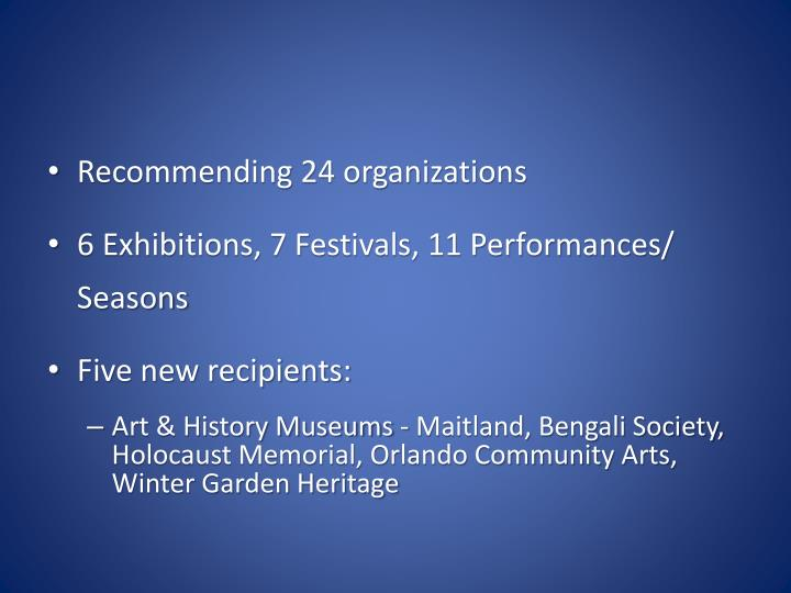 Recommending 24 organizations