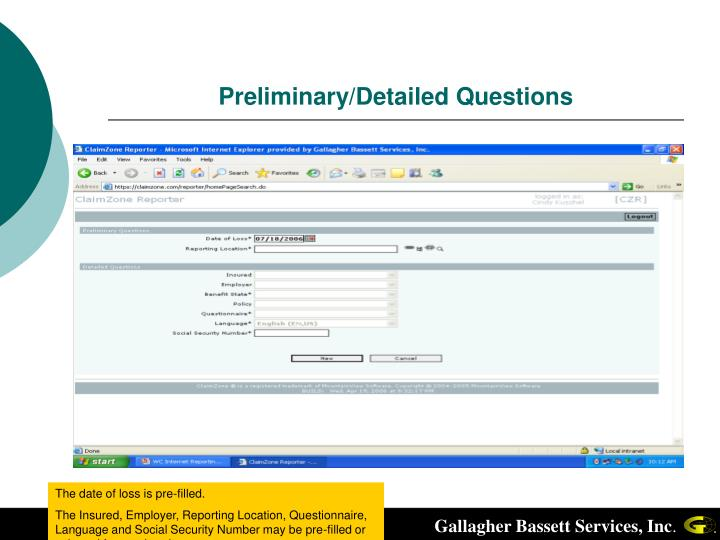 Preliminary detailed questions
