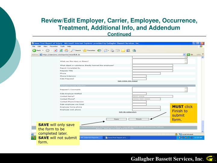 Review/Edit Employer, Carrier, Employee, Occurrence, Treatment, Additional Info, and Addendum