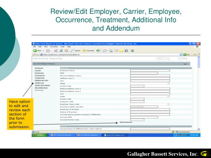 Review/Edit Employer, Carrier, Employee, Occurrence, Treatment, Additional Info
