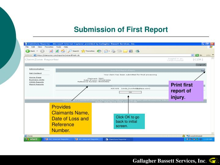 Submission of First Report