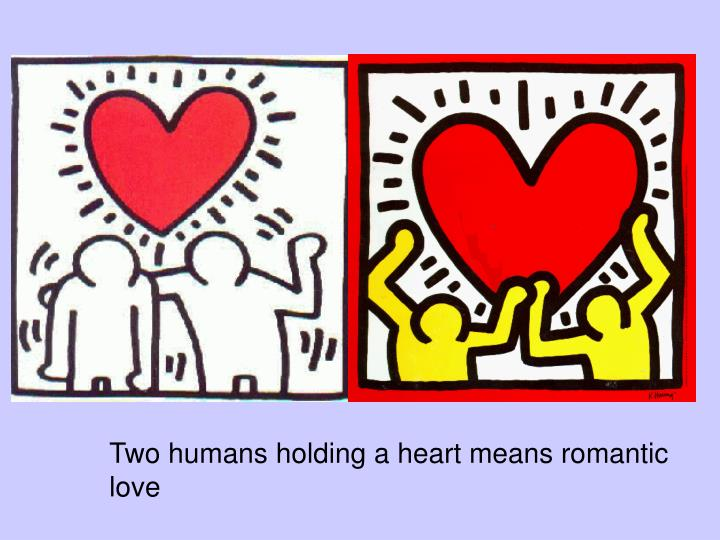 Two humans holding a heart means romantic love
