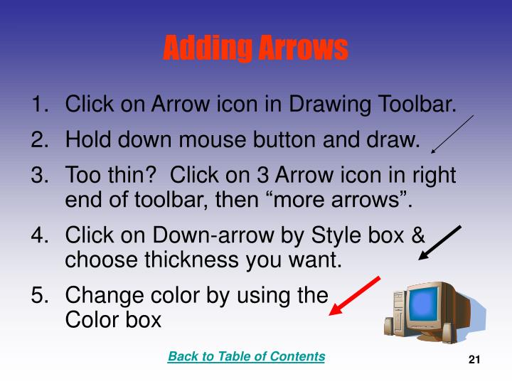 Adding Arrows