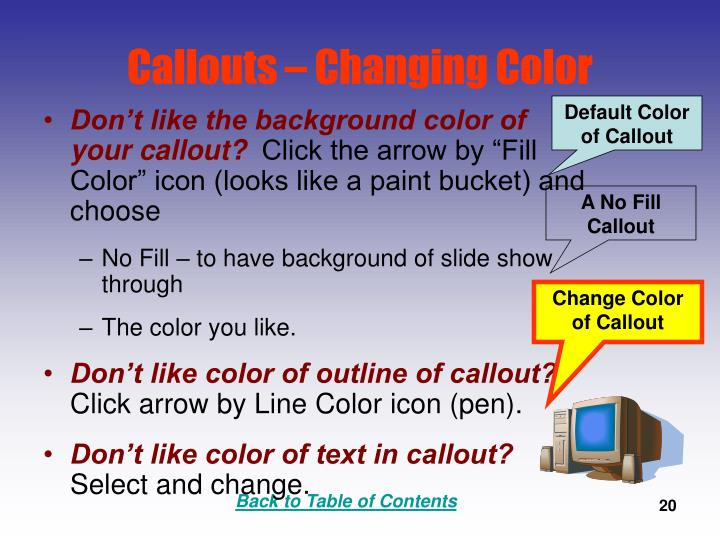 Callouts – Changing Color