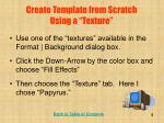 create template from scratch using a texture