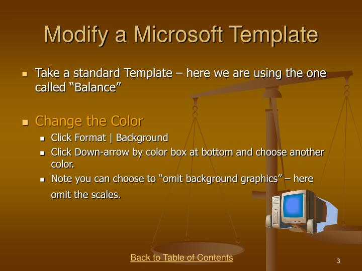 Modify a Microsoft Template