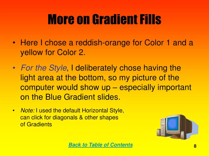 More on Gradient Fills