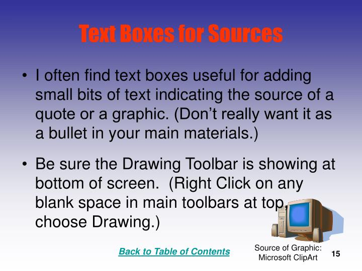 Text Boxes for Sources