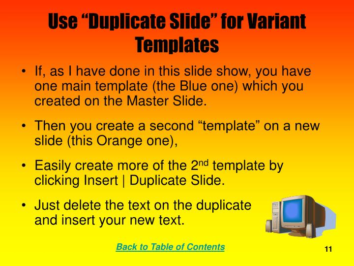 "Use ""Duplicate Slide"" for Variant Templates"