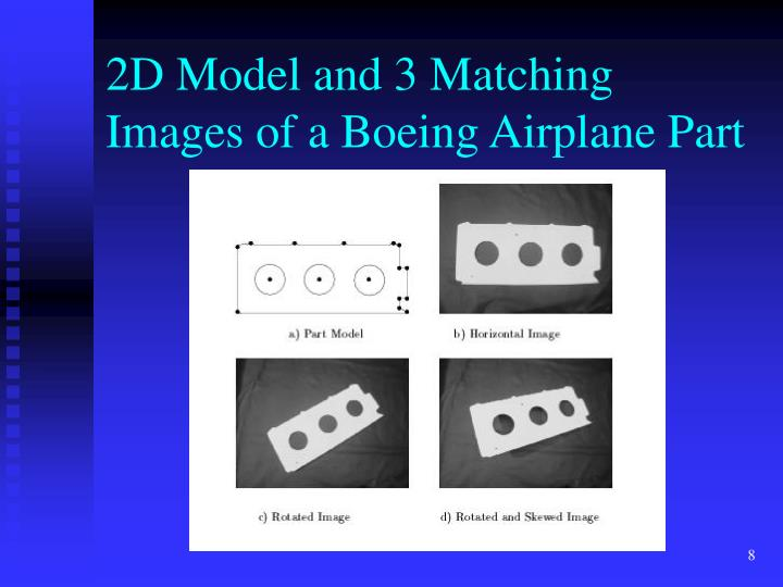 2D Model and 3 Matching Images of a Boeing Airplane Part