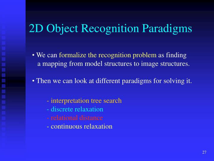 2D Object Recognition Paradigms