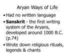 aryan ways of life