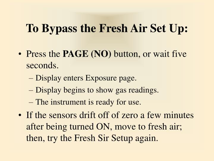 To Bypass the Fresh Air Set Up: