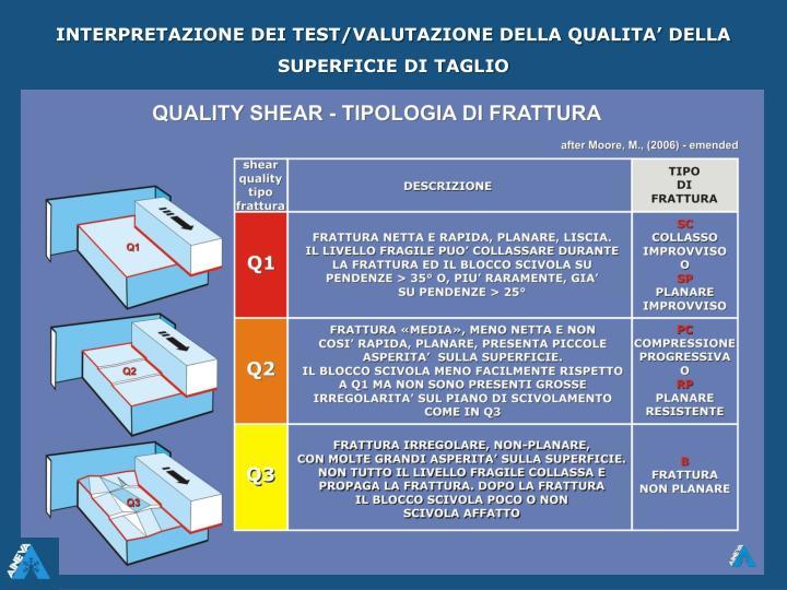 INTERPRETAZIONE DEI TEST/VALUTAZIONE DELLA QUALITA' DELLA SUPERFICIE