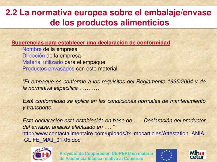 2.2 La normativa europea sobre el embalaje/envase