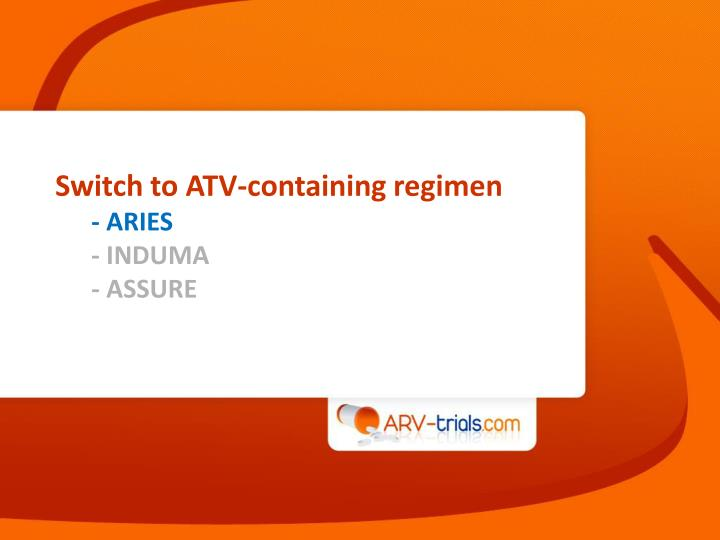Switch to ATV-containing regimen