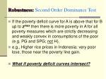 robustness second order dominance test