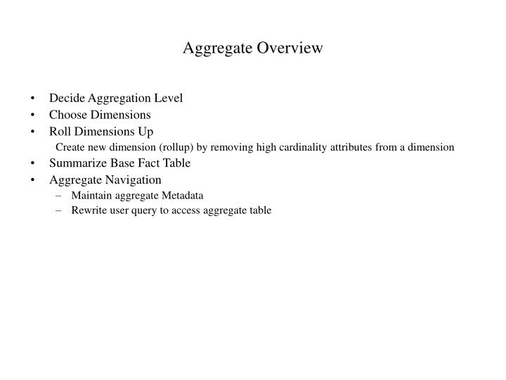 Aggregate Overview