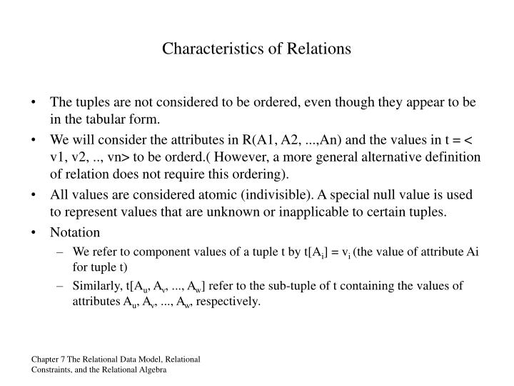 Characteristics of Relations