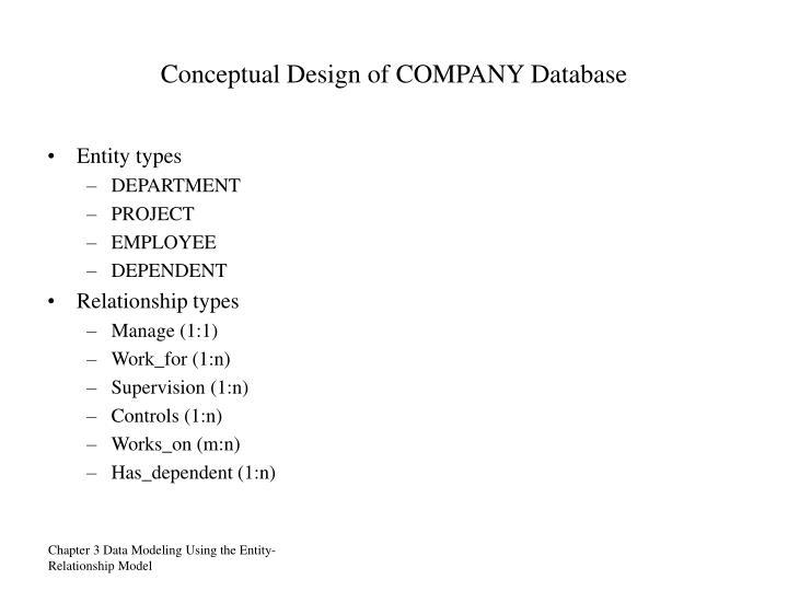 Conceptual Design of COMPANY Database