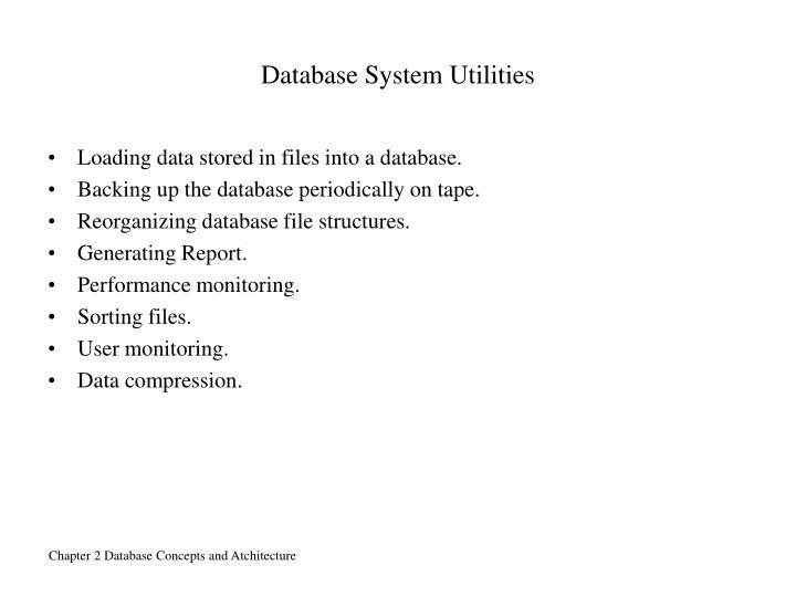 Database System Utilities